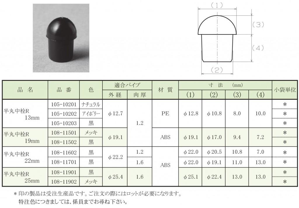 2-4.半丸中栓 【 リブ 】