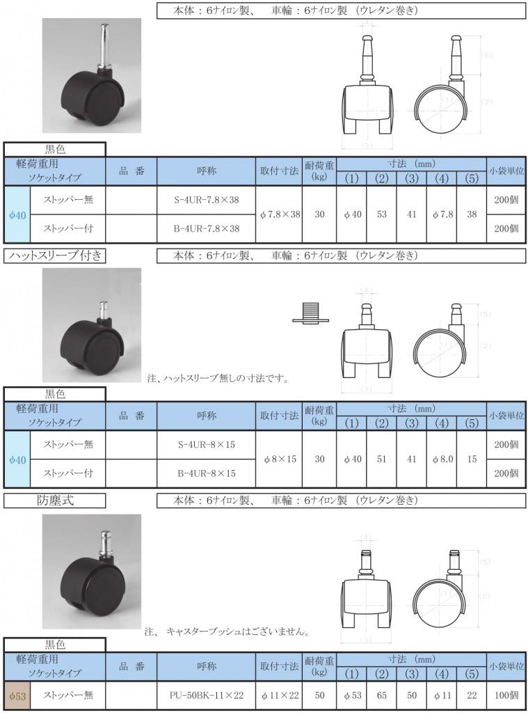 15-6.キャスター【双輪・軽荷重・ソケット】ウレタン巻φ40/53