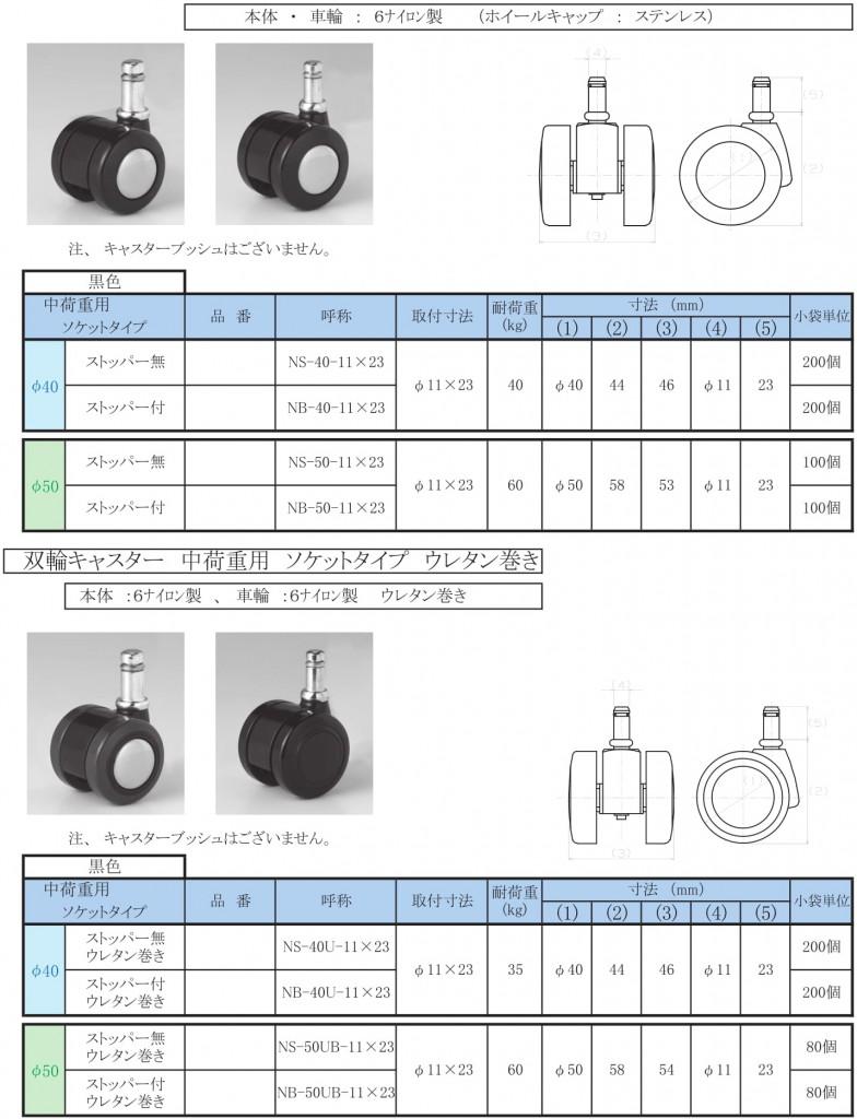 15-7.キャスター【双輪・中荷重・ソケット】φ40/50