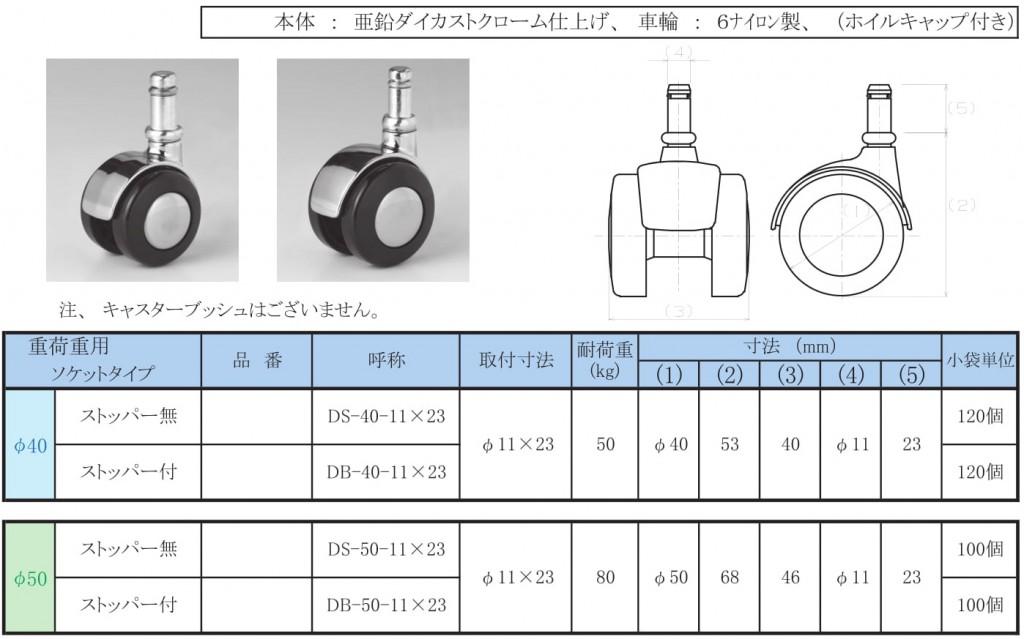 15-8.キャスター【双輪・重軽荷重・ソケット】φ40/50