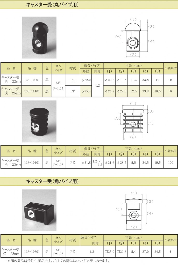 19-1.キャスター受(丸パイプ用 / 角パイプ用)